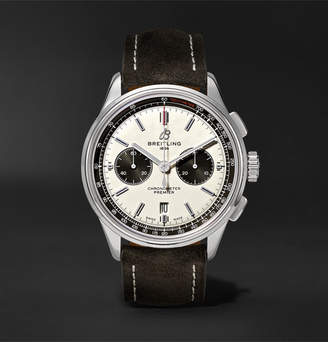 Breitling Premier B01 Chronograph 42mm Stainless Steel And Nubuck Watch, Ref. No. Ab0118221g1x1 - White