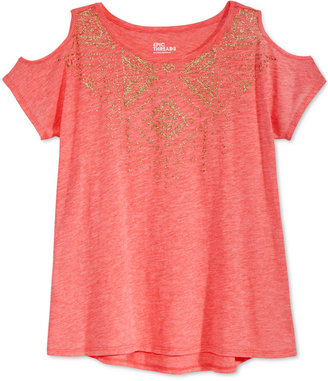 Epic Threads Cold-Shoulder Geo-Graphic Top, Big Girls (7-16), Only at Macy's $18 thestylecure.com