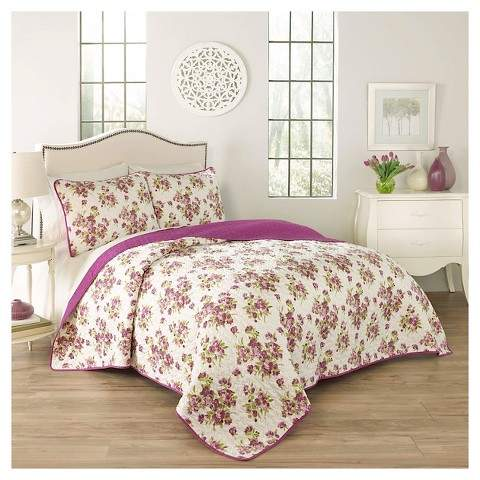 Traditons by Waverly Purple Floral Primrose Quilt Set 3pc - Traditions by Waverly®
