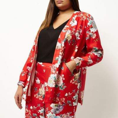River Island River Island Womens Plus red floral print zip detail jacket