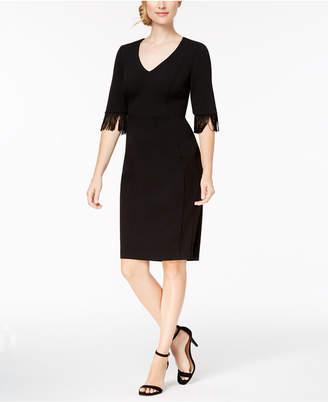 Calvin Klein V-Neck Fringe Sheath Dress
