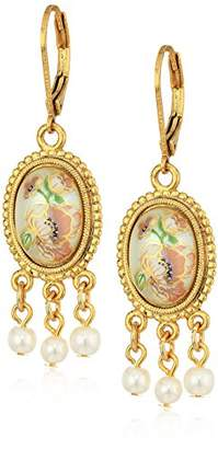 1928 Jewelry Womens Gold Tone Oval Flower Decal Pearl Drop Earrings