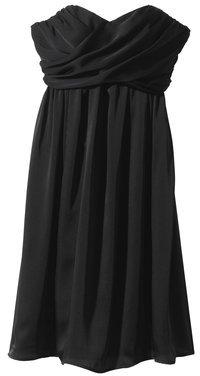 Womens Strapless Wrap-Front Chiffon Dress - Core Colors