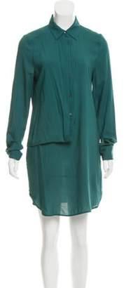 Chalayan Draped Button-Up Shirtdress w/ Tags Teal Draped Button-Up Shirtdress w/ Tags