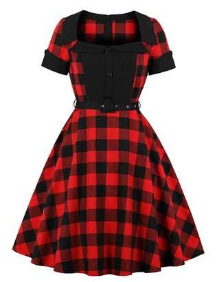 Kimring Women's Vintage Retro Plaid Square Neck High Waist Short Sleeves Midi Christmas Dress with Belt XX-Large