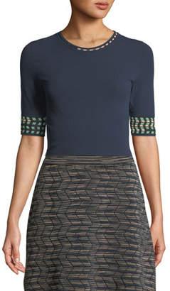 M Missoni Graphic-Cuff Solid Knit Top