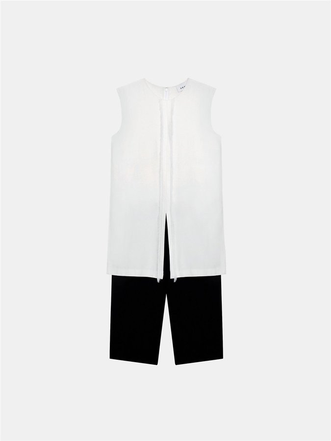 DKNYLayered Short Jumpsuit With Fringe Trim