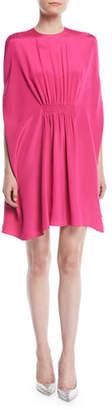 Valentino Silk Cady Cocktail Dress w/ Ruched Waist & Cape