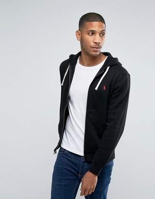 Polo Ralph Lauren Plain Jersey Zip Up Hoodie In Black