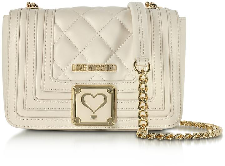 Love MoschinoLove Moschino Ivory Quilted Eco Leather Shoulder Bag