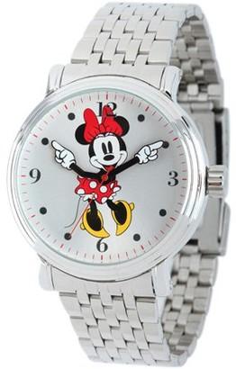 Disney Minnie Mouse Women's Shinny Silver Vintage Articulating Alloy Case Watch, Silver Bracelet