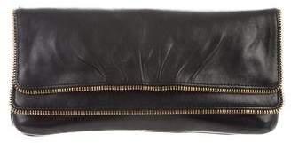 Lauren Merkin Leather Zipper-Accented Clutch