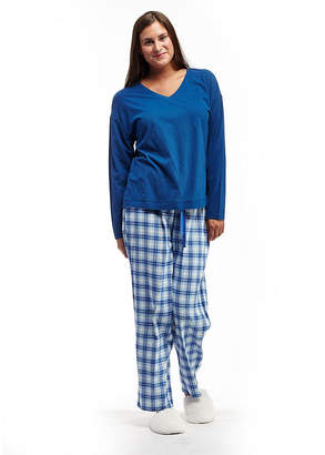 La Cera Plus-Size Checkered Flannel PJs