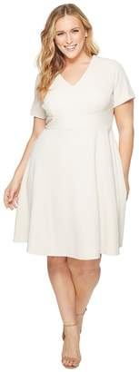 Donna Morgan Plus Size Fit and Flare Crepe Dress with Cap Sleeve Women's Dress