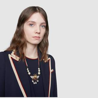 Gucci Bee necklace with crystals and pearls