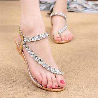 Meigar Womens Sandals Silver Diamond Wedding Party Sandal Shoes Low Heels Casual Shoe