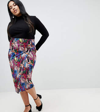 Lost Ink Plus Pencil Skirt In Tropical Print With Side Tabs