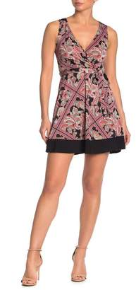 Just For Wraps Surplice Neck Sleeveless Tie Waist Geometric Print Dress