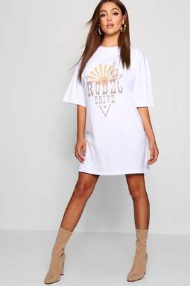 boohoo Western Print Oversized T Shirt Dress