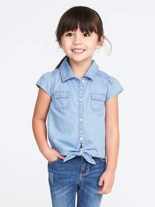 Old Navy Tie-Hem Chambray Shirt for Toddler Girls