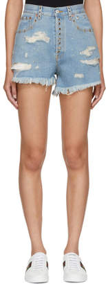 Gucci Blue Bleach Washed Denim Shorts
