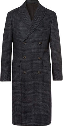 Oliver Spencer Double-Breasted Prince of Wales Checked Lambswool Coat - Men - Blue