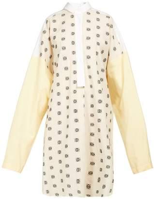 Loewe Anagram Embroidered Cotton Poplin Shirtdress - Womens - White Multi
