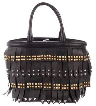 Prada 2017 Nappa Studded Fringe Handle Bag