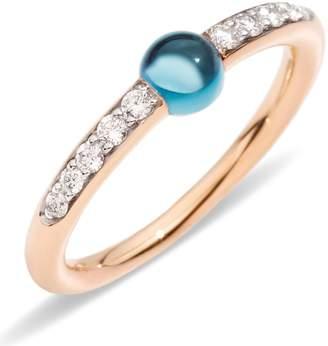 Pomellato M'ama non M'ama London Blue Topaz and Diamond Ring