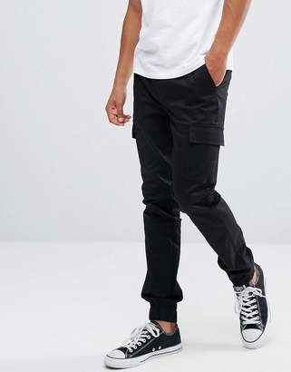 Asos Skinny Woven Cargo Joggers In Black