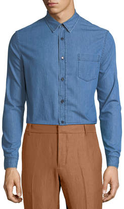 Vince Long-Sleeve Chambray Sport Shirt