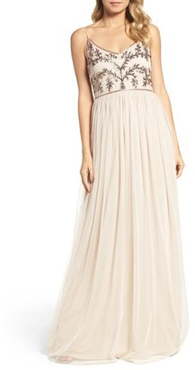 Women's Adrianna Papell Spaghetti Strap Embroidered Bodice Gown $199 thestylecure.com
