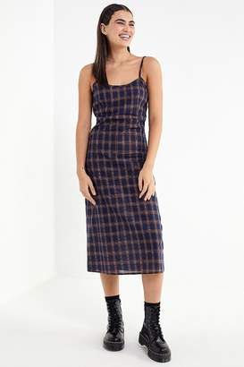 Urban Outfitters Plaid Empire Waist Midi Dress