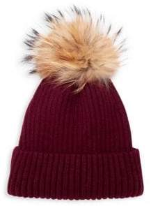 Classic Ribbed Beanie with Coyote Fur Pom-Pom