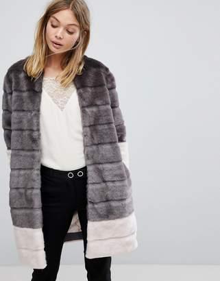 Ted Baker Faux Fur Jacket in Color Block