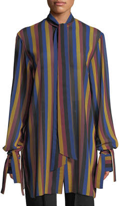 Rokh Tie-Neck Tie-Cuff Striped Open-Back Tunic Blouse