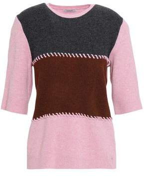 Ganni Whipstitched Ribbed Merino Wool-blend Top