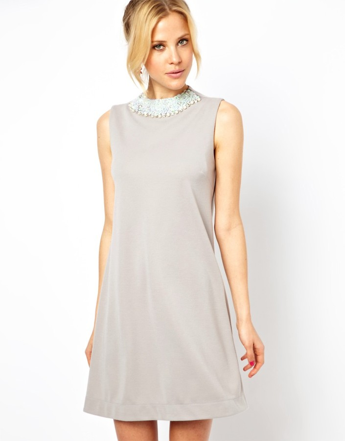 Asos Shift Dress With Embellished Collar
