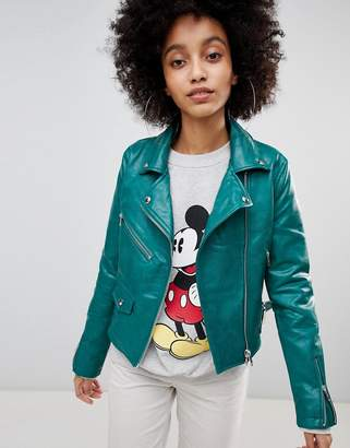 Bershka Leather Look Biker Jacket