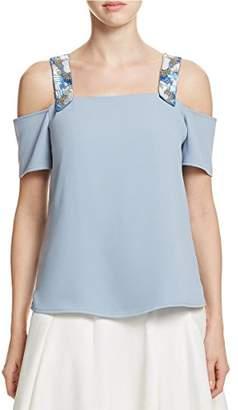 Cooper & Ella Womens Sequined Open Shoulder Blouse L