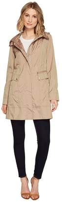 Cole Haan 34 1/2 Single Breasted Rain Jacket with Removable Hood Women's Coat