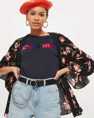 Topshop Spotted Floral Print Kimono