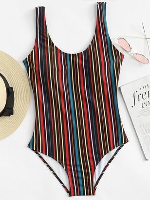 Shein Vertical Striped U Back One Piece Tank Swimsuit