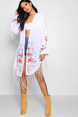 boohoo Embroidered Kimono With Fringing