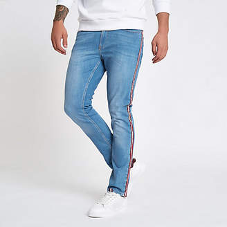 River Island Mens Blue Sid tape side skinny stretch jeans