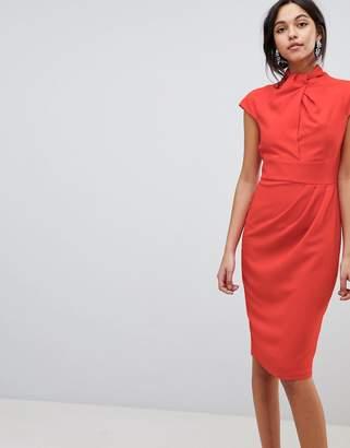Asos Design Twist Neck Keyhole Midi Dress