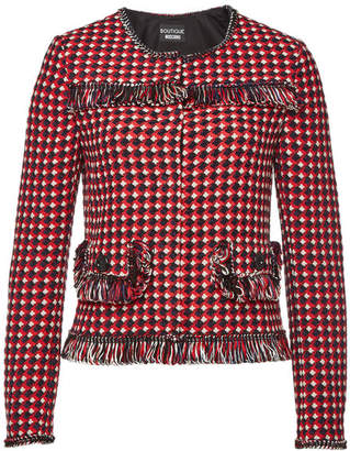 Moschino Printed Jacket with Cotton and Wool