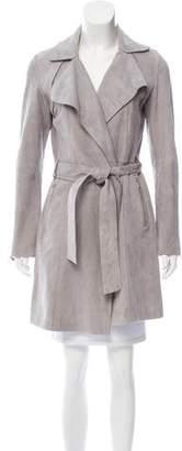Dawn Levy Suede Notch-Lapel Coat