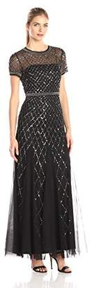 Adrianna Papell Women's Short-Sleeve Beaded Mesh Gown $320 thestylecure.com