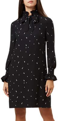 Hobbs Luna Long Sleeve Dress, Black/Ivory